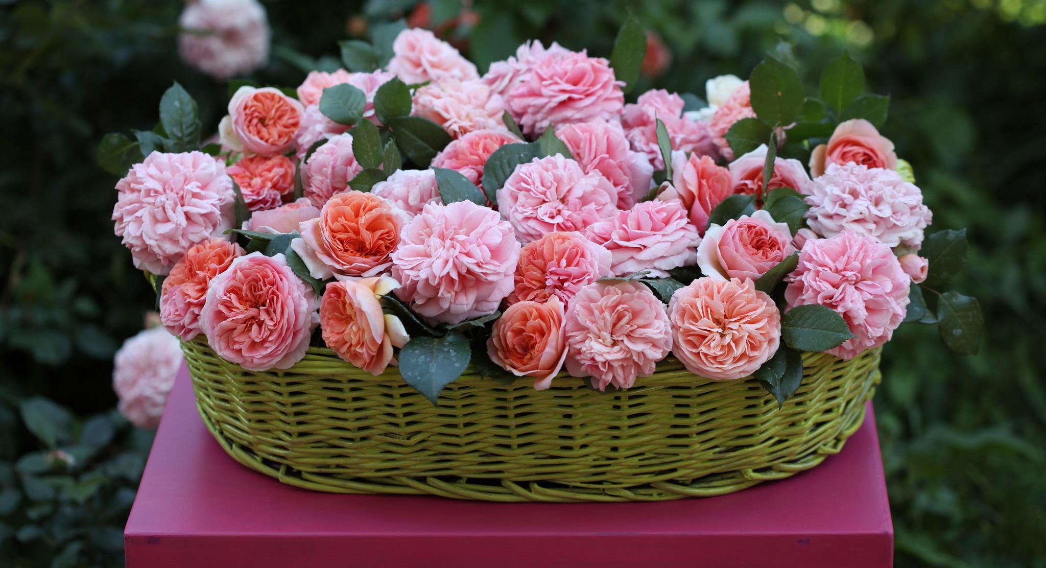 Оформление корзины цветов